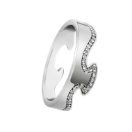 Georg Jensen Fusion 18ct White Gold End Ring with Diamonds