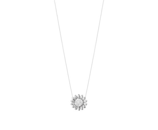 Georg Jensen Sunflower Silver Pendant with Diamonds