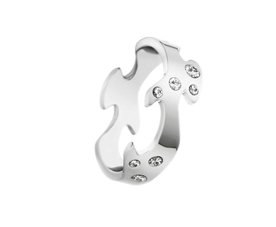 Georg Jensen Fusion 18ct White Gold Centre Ring with Diamonds