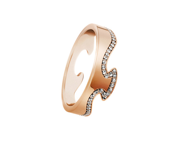 Georg Jensen Fusion 18ct Rose Gold End Ring with Diamonds