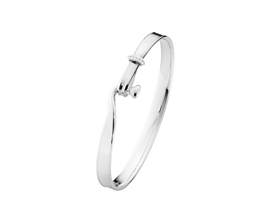 Georg Jensen Torun Silver Bangle with Diamonds