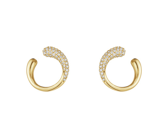Georg Jensen Mercy 18ct Yellow Gold and Diamond Earrings 10017827