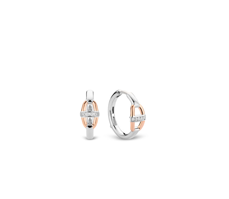 Rose Gold Plated Silver Hoop Earrings 7777ZR